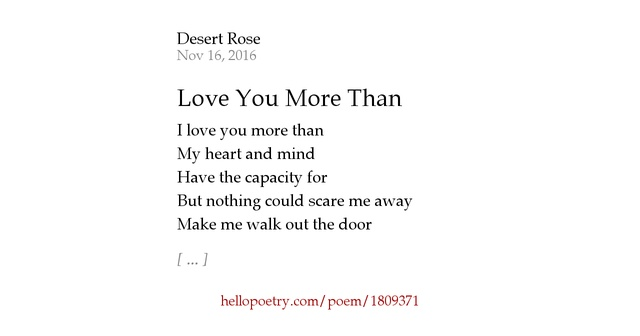I Love You More Than Poems: Love You More Than By Desert Rose
