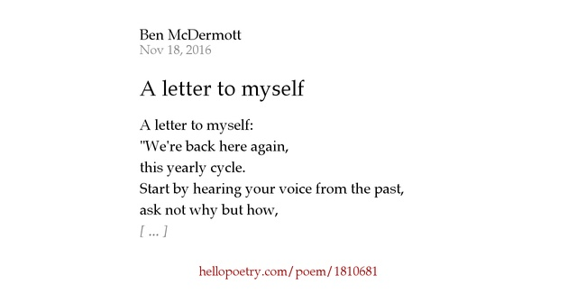 a letter to myself poem a letter to myself by ben mcdermott hello poetry 23991 | fb