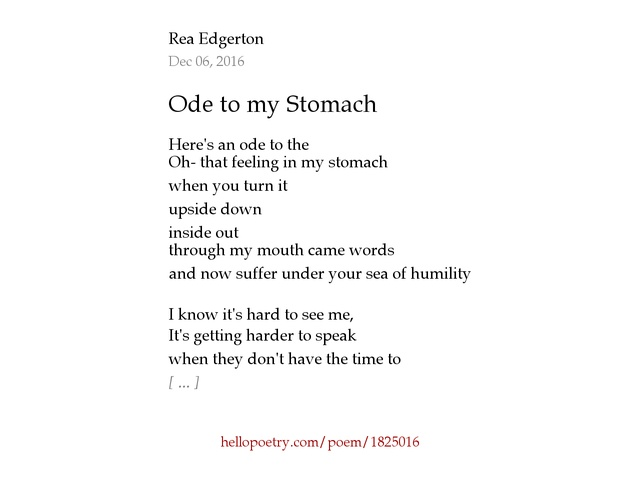 Ode to my Stomach by Reg - Hello Poetry