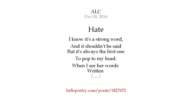 I Hate You Poems For Her: Hello Poetry