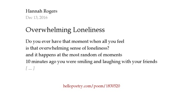 Overwhelming feeling of loneliness