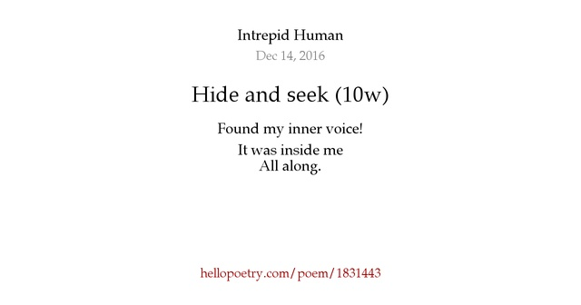 appreciation of a the poem hide and seek essay Look at theme of childhood and the process english literature essay in conclusion, i would say that these all six poems hide and seek, half past two.