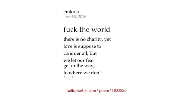 Fuck The World Poems 29