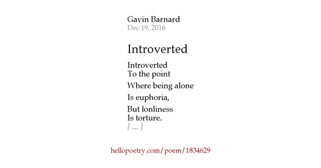 Introverted by Gavin Barnard - Hello Poetry