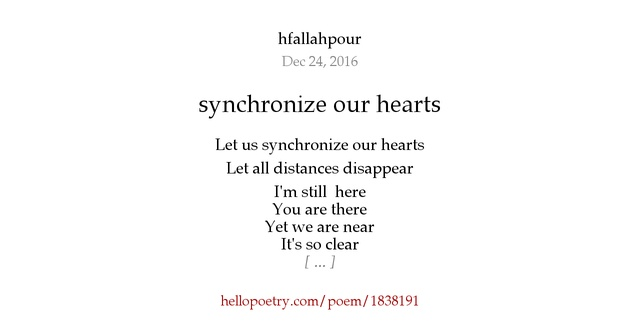 synchronize our hearts by hfallahpour - Hello Poetry