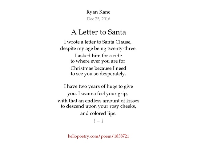 20 awesome letter from santa poem images complete letter template a letter to santa by ryan kane hello poetry spiritdancerdesigns Images