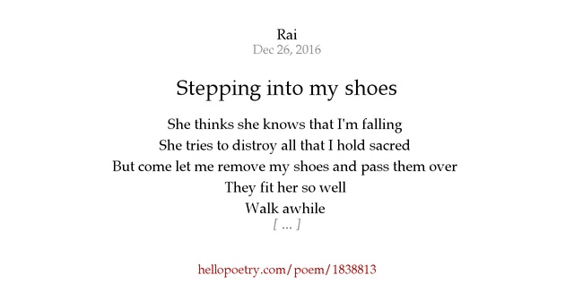 stepping into my shoes by hello poetry