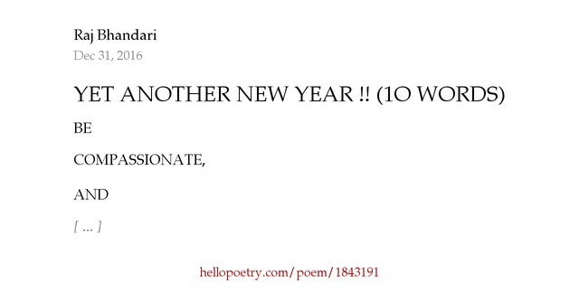 Yet another new year 1o words by raj bhandari hello for Another word for hi