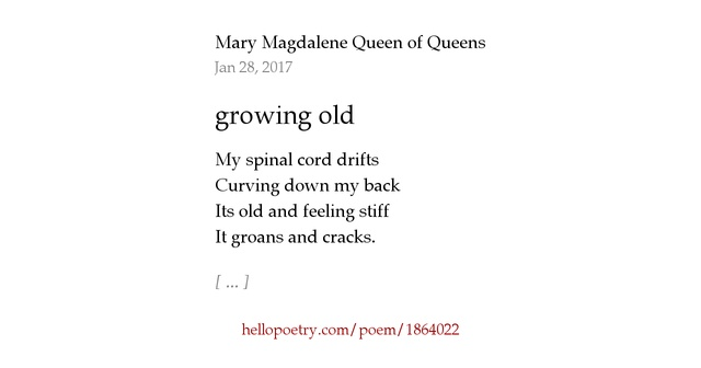 growing old a poem by Growing old - a poem by matthew arnold what is it to grow old is it to lose the glory of the form, the lustre of the eye is it for beauty to forego her wreath.