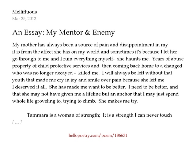 essays on mentorship This student used essay mentors' process to write a fantastic essay he was accepted to williams college, boston college, tufts university and wheaton college.