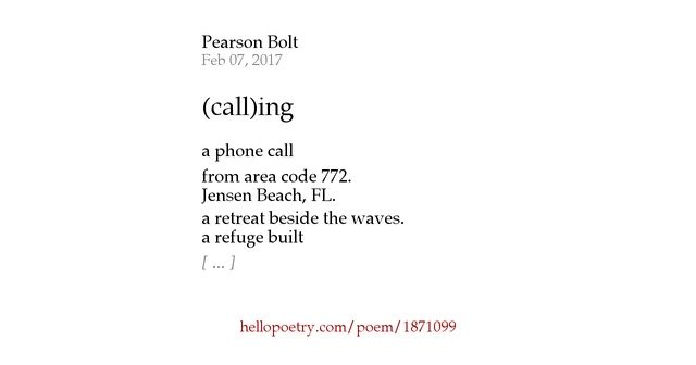 Calling By Pearson Bolt Hello Poetry - Area code 772