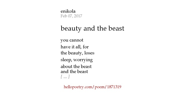 beauty and the beast by enikola - Hello Poetry