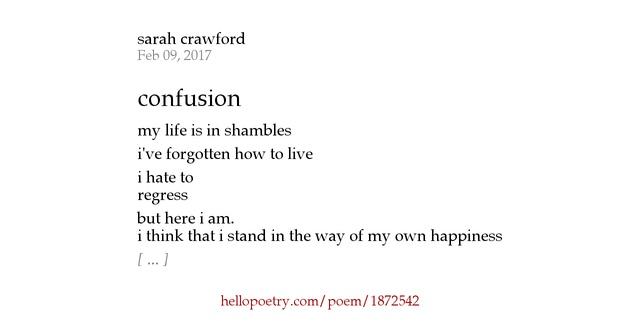 I Hate The Way Poem: Confusion By Sarah Crawford
