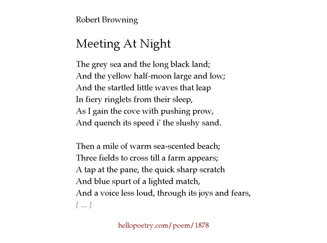 meeting at night poetry essay by robert browning 200 words