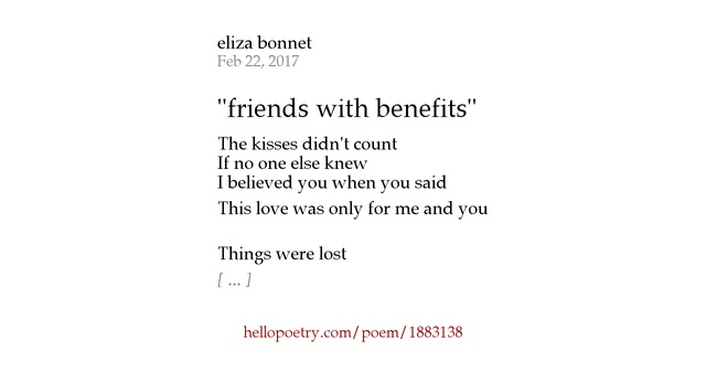 """friends with benefits"" by eliza bonnet - Hello Poetry"