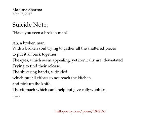 suicide note. by mahima sharma - hello poetry