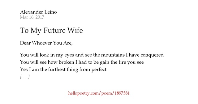 To My Future Wife by Alexander Daniel - Hello Poetry