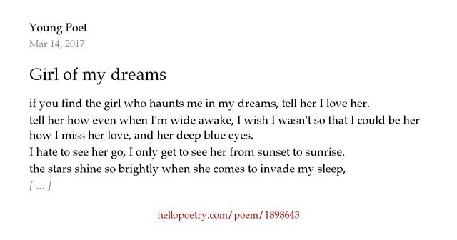 I Hate You Poems For Her: Girl Of My Dreams By Young Poet