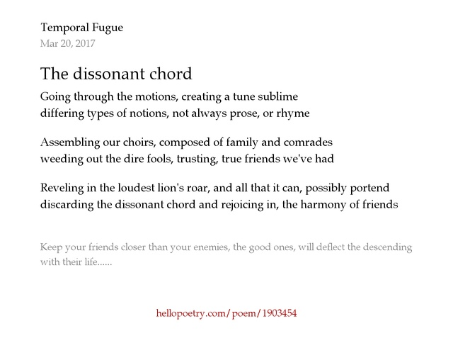 The Dissonant Chord By Temporal Fugue Hello Poetry
