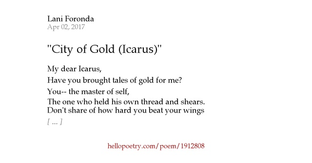 comparing poems i icarus and walking W h auden: poems summary and analysis of as i walked out one  the end  of the myth of daedalus and his son icarus told by ovid.