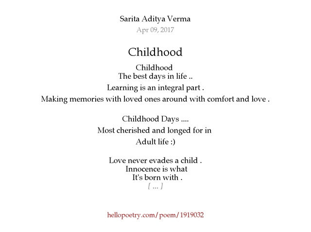 Childhood by Sarita Aditya Verma - Hello Poetry