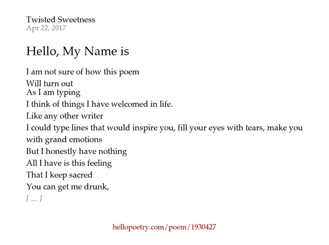 Hello My Name Is By Twisted Sweetness