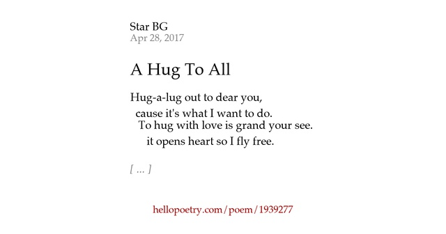 I Wanna Cuddle With You Poem: A Hug To All By Star BG