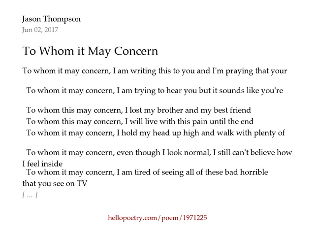 To whom it may concern by jason thompson hello poetry thecheapjerseys Images