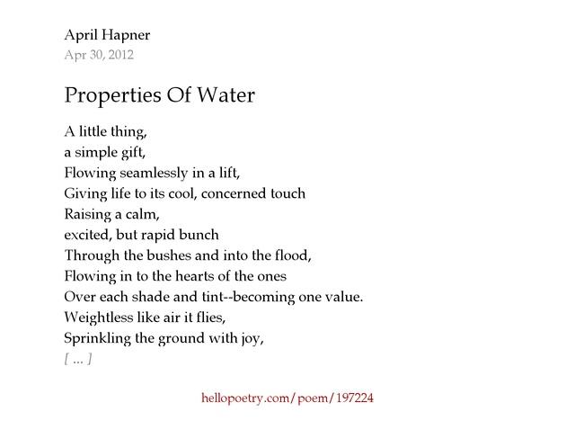 Properties Of Water by April Hapner - Hello Poetry