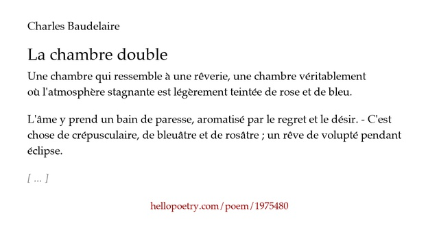 La chambre double by charles baudelaire hello poetry - Chambre double baudelaire ...