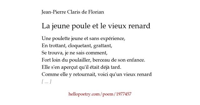la jeune poule et le vieux renard by jean pierre claris de florian hello poetry. Black Bedroom Furniture Sets. Home Design Ideas