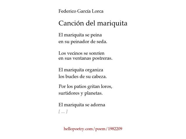 canción del mariquitafederico garcía lorca - hello poetry