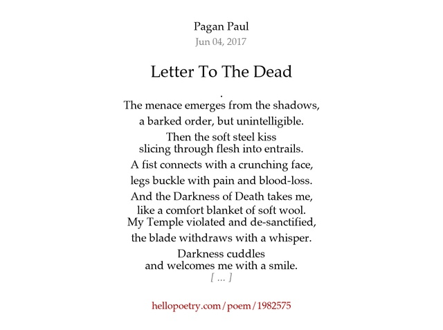 Letter To The Dead by Pagan Paul Hello Poetry