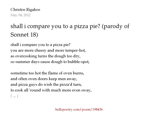 shall i compare you to a pizza pie? (parody of Shakespeare's ...