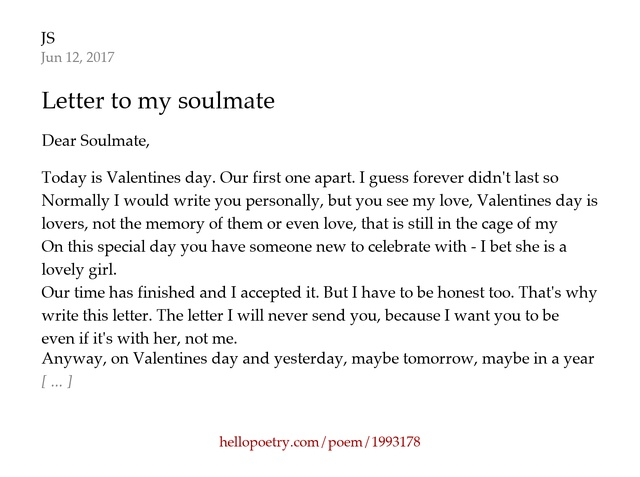 Letter to my soulmate by JS Hello Poetry