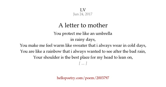 A letter to mother by Flowery skies   Hello Poetry