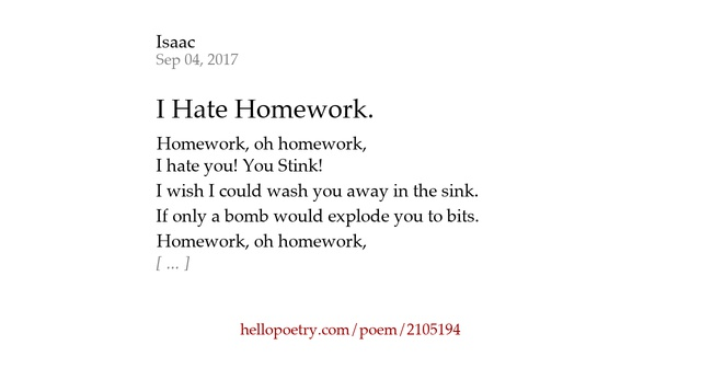 I can't do my homework poem
