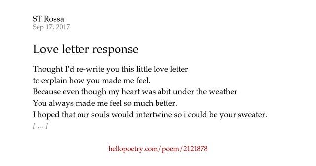 Love Letter Response By ST Rossa