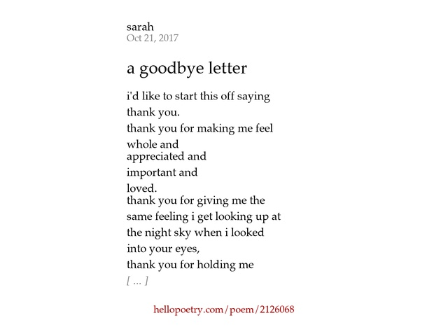 a goodbye letter by sarah Hello Poetry