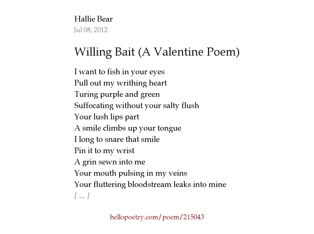 willing bait a valentine poem by hallie bear hello poetry