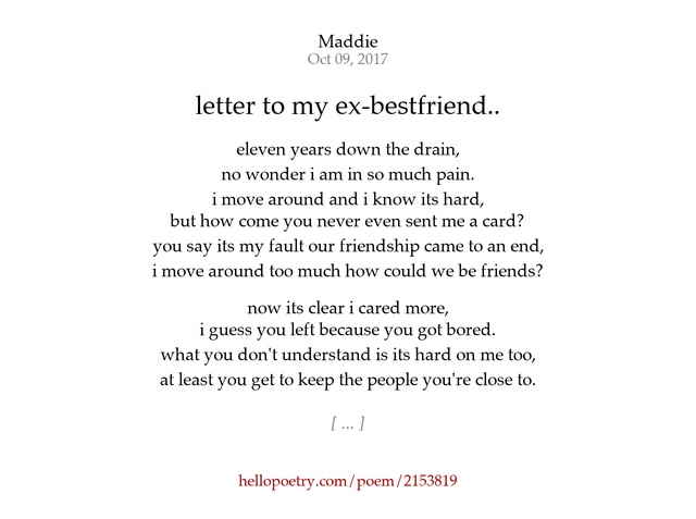 letter to my ex bestfriend by Mad Hello Poetry
