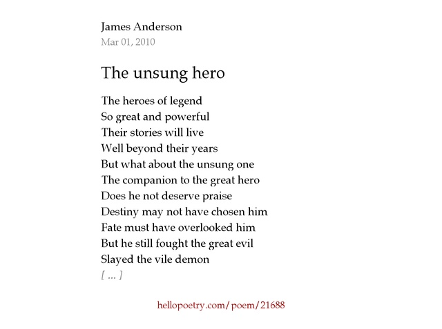 The unsung hero by James Anderson - Hello Poetry