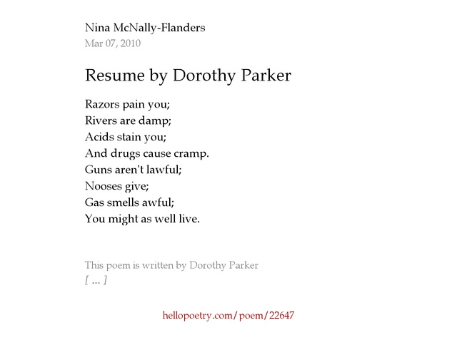 resume by dorothy parker by nina mcnally flanders hello poetry