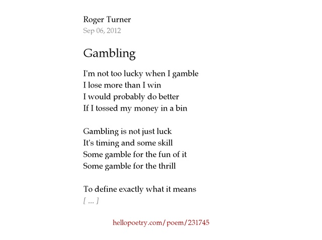 Poems of gambling how to win money on roulette