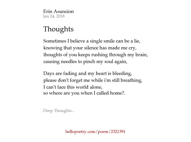Thoughts By Erin Asuncion Hello Poetry - Where is asuncion