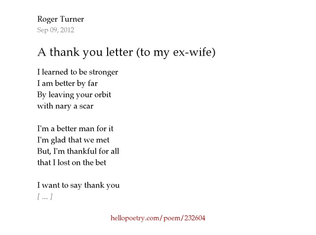 A thank you letter to my ex wife by Roger Turner Poet Hello