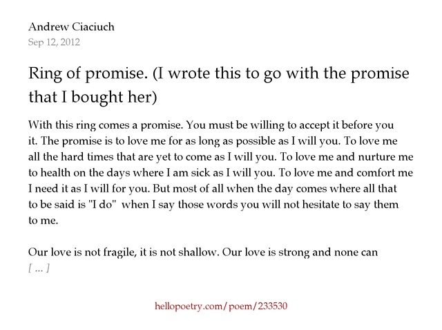 ring of promise. (i wrote this to go with the promise ring that i
