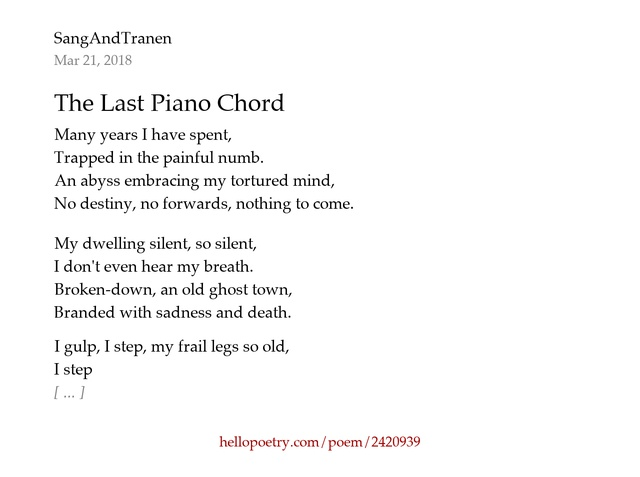 The Last Piano Chord By Sangandtranen Hello Poetry