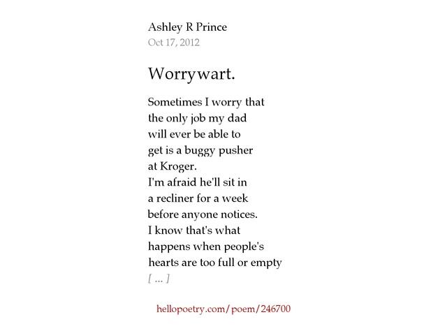 sc 1 st  Hello Poetry & Worrywart. by Ashley R Prince - Hello Poetry islam-shia.org