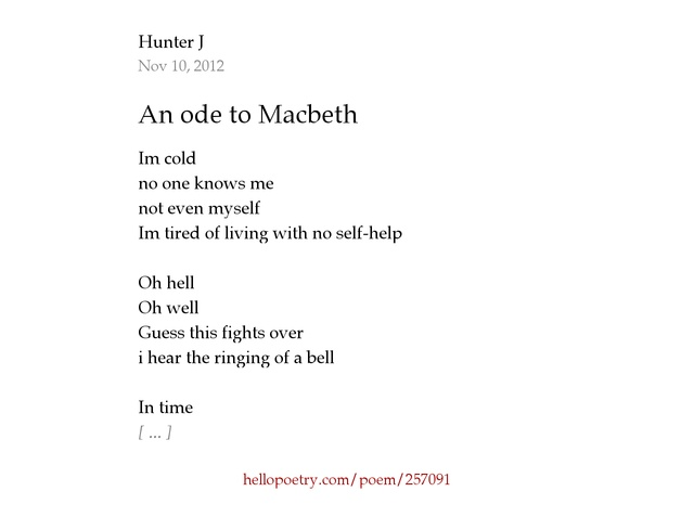 An ode to Macbeth by Hunter J - Hello Poetry